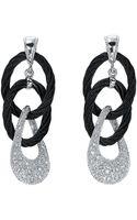 Charriol Diamond and Cable Hoop Earrings - Lyst