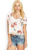 Forever 21 Crocheted Floral Tee - Lyst