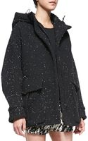 Rag & Bone Thompson Splattered Jersey Coat Black X-small - Lyst