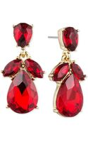 Anne Klein Gold-tone Stone Cluster Drop Earrings - Lyst