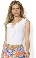 Lauren by Ralph Lauren Sleeveless Ruffled Top - Lyst