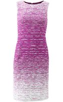 Oscar de la Renta Textured Tweed Pencil Dress - Lyst