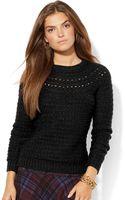 Lauren by Ralph Lauren Pointelle Crewneck Sweater - Lyst