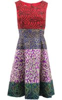 Oscar de la Renta Embellished Color Block Dress - Lyst