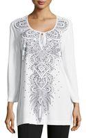 Grayse Le Fleur Beaded Jersey Tunic White Xs - Lyst