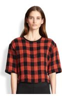 Rag & Bone Reversible Buffalo Plaid Cotton Cropped Top - Lyst