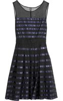 Halston Heritage Satin Striped Silk Organza Dress - Lyst