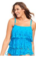 Kenneth Cole Reaction Crochet Tiered Ruffle Tankini Top - Lyst