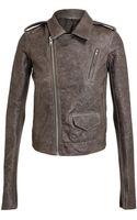 Rick Owens Washed Leather Biker Jacket - Lyst