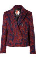 MSGM Fleece Wool Leopard Jacquard Jacket - Lyst