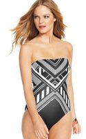 Vince Camuto Graphicprint Bandeau Onepiece Swimsuit - Lyst