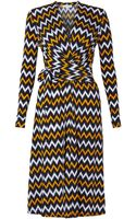 MICHAEL Michael Kors Printed Long Sleeve Wrap Dress - Lyst