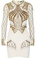 Sass & Bide The Royal One Embellished Mesh-paneled Stretch-silk Mini Dress - Lyst