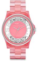 Marc By Marc Jacobs Stainless Steel Nylon Cutout Link Bracelet Watch - Lyst