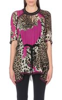 Roberto Cavalli Drawstring-waist Leopard-print Silk Top - Lyst