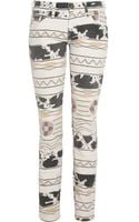 Current/Elliott The Ankle Skinny Printed Lowrise Jeans - Lyst