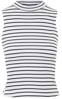 Topshop Striped Sleeveless Funnel Neck Top - Lyst