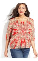 Inc International Concepts Plus Size Printed Peasant Top - Lyst