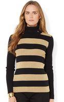 Lauren by Ralph Lauren Metallic Striped Turtleneck Sweater - Lyst