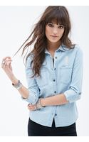 Forever 21 Distressed Chambray Shirt - Lyst