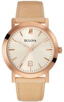 Bulova Ladies Rose Gold Tone Watch with Leather Strap - Lyst
