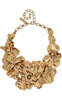 Oscar de la Renta Goldplated Rose Necklace - Lyst