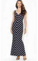 Ralph Lauren Lauren Maxi Dress V Neck Sleeveless Diagonal Stripe - Lyst