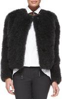 Brunello Cucinelli Goat Fur Snapfront Jacket - Lyst