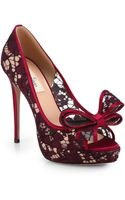 Valentino Couture Lace Bow Platform Pumps - Lyst