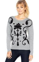 Kensie Long-sleeve Crew-neck Damask-knit Sweater - Lyst