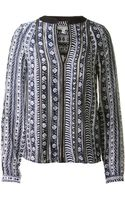 Veronica Beard Navy and White Printed Silk Blouse - Lyst