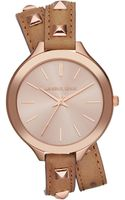 Michael Kors Midsize Rose Golden Pyramidstud Leather Runway Watch - Lyst