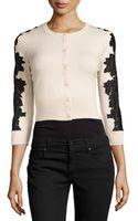 Diane Von Furstenberg Wool-blend Lace-inset Cardigan - Lyst