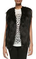 Haute Hippie Cropped Goat Fur Leather Vest - Lyst
