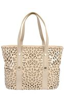 Sondra Roberts Perforated Leather Tote - Lyst