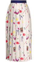 Mary Katrantzou Vaya Printed Pleated Satintwill Midi Skirt - Lyst