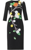 Dolce & Gabbana Floral Appliqué Cady Dress - Lyst