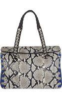 Roberto Cavalli Leather Python Satchel Bag - Lyst