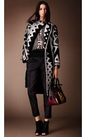 Burberry Graphic Jacquard Blanket Coat - Lyst