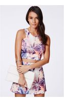 Missguided Virta Palm Print Scuba Vneck Crop Top Campaign - Lyst