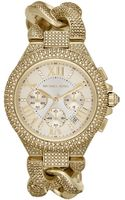 Michael Kors Mid-size Golden Stainless Steel Twisted Camille Three-hand Glitz Watch - Lyst