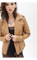 Forever 21 Quilted Faux Leather Jacket - Lyst