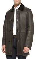 Ferragamo Shearling Fur Car Coat - Lyst