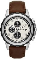 Fossil Womens Chronograph Dean Brown Leather Strap 45mm - Lyst