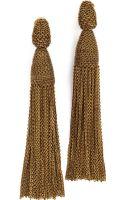 Oscar de la Renta Long Chain Tassel Earrings - Gold - Lyst