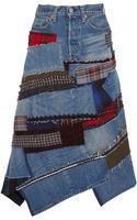 Junya Watanabe Patchwork Denim Midi Skirt - Lyst