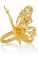 Alexander McQueen Goldtone Swarovski Crystal Butterfly Ring - Lyst