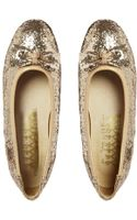 F-troupe Gold Glitter Leather Flat Shoes with Bow Detail - Lyst