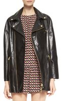 RED Valentino Long Leather Motorcycle Jacket - Lyst