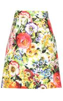 Dolce & Gabbana Cotton and Silk Blend Floral Print Skirt - Lyst
